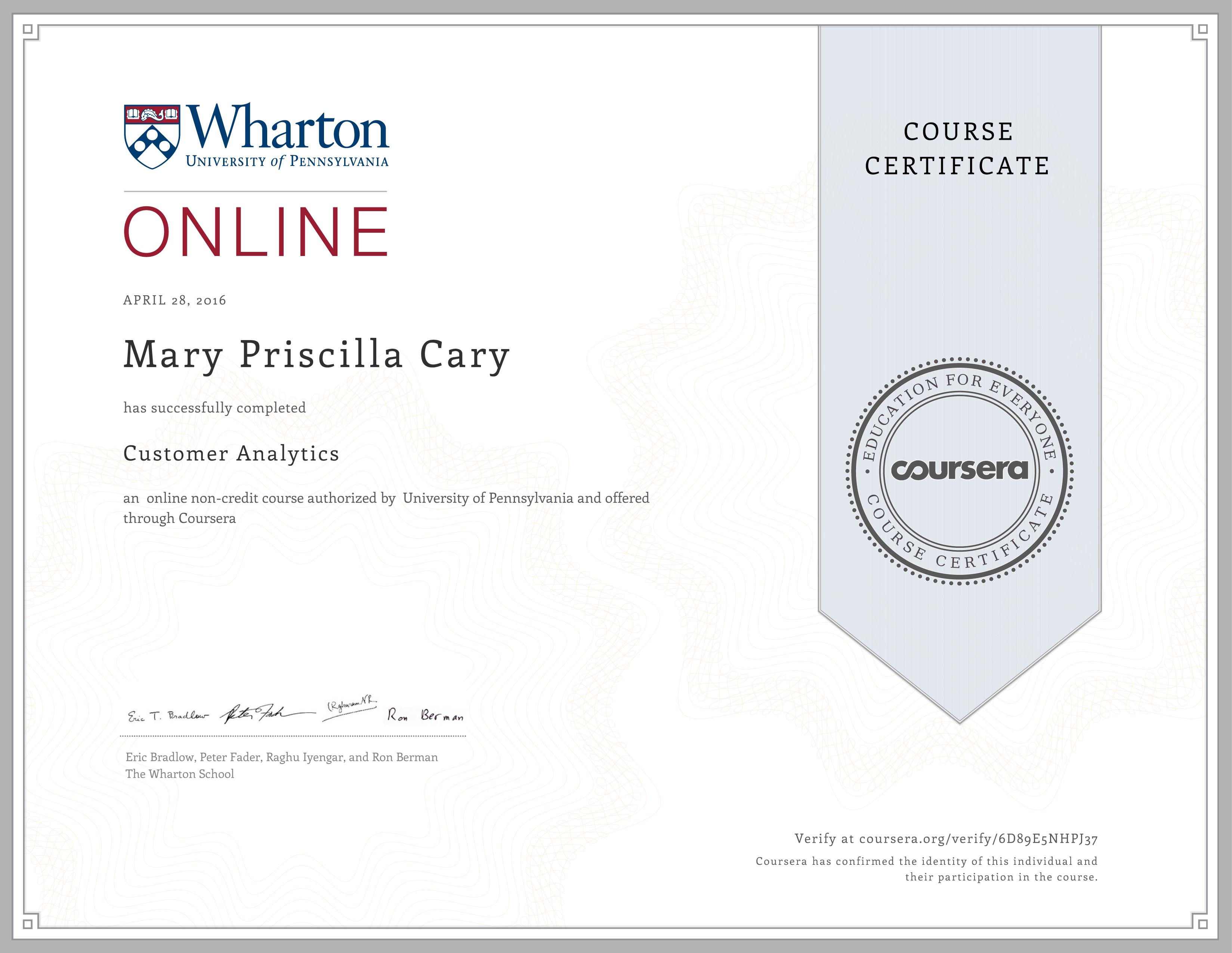 00000Wharton Analytics Certificate